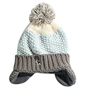 Naovio Baby Kids Knitted Cap Lined Plush Winter Warm Hat With Earflap,Gray