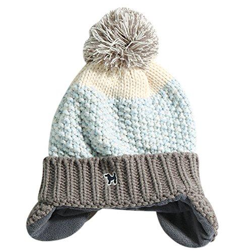 Aimeio Baby Kids Knitted Cap Lined Plush Winter Warm Hat With Earflap Pom Pom Beanie ()