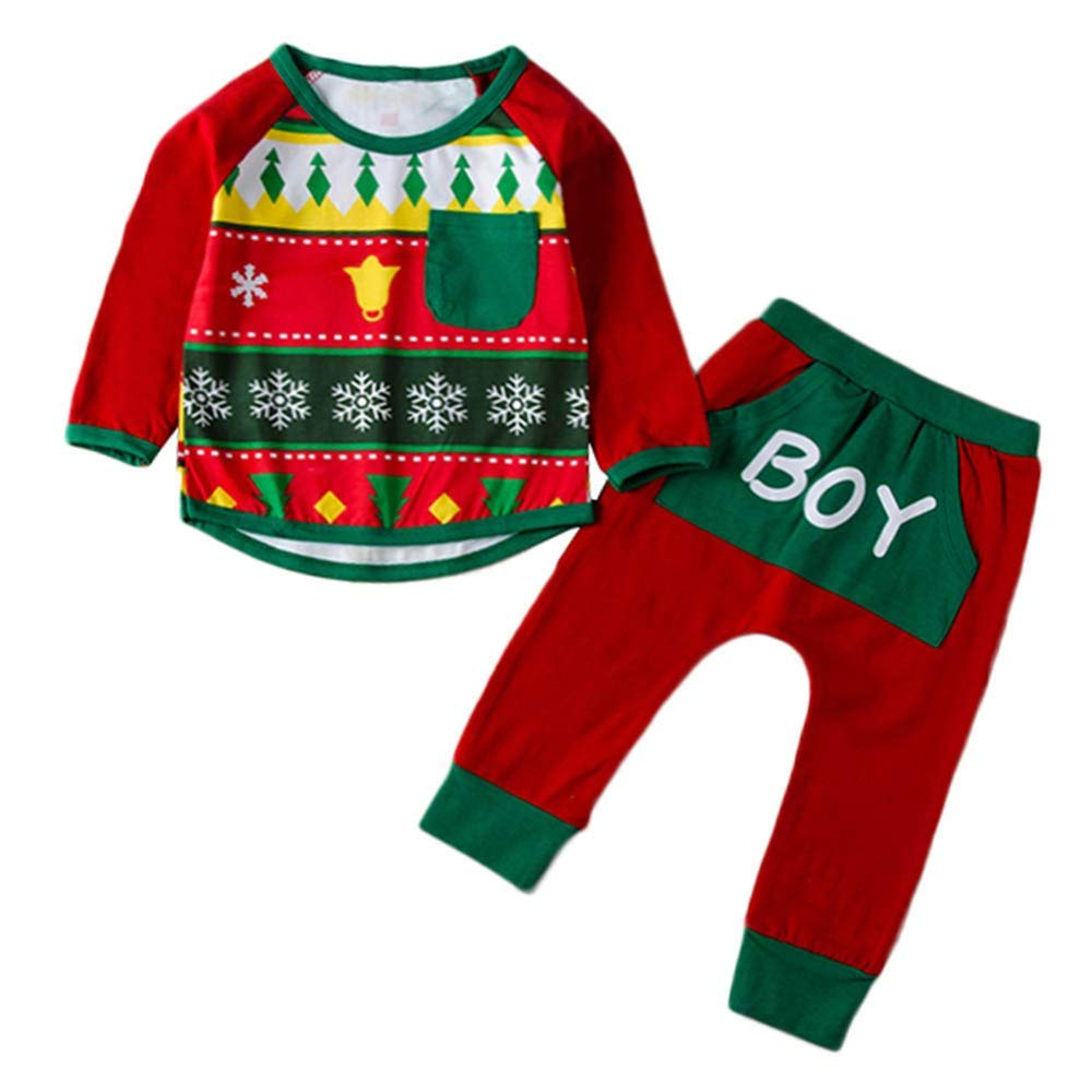 Christmas 2PCS for 0-4 Baby Boys Girls Clothes Set Snowflake Geometric/Top+Pant Outfit Set