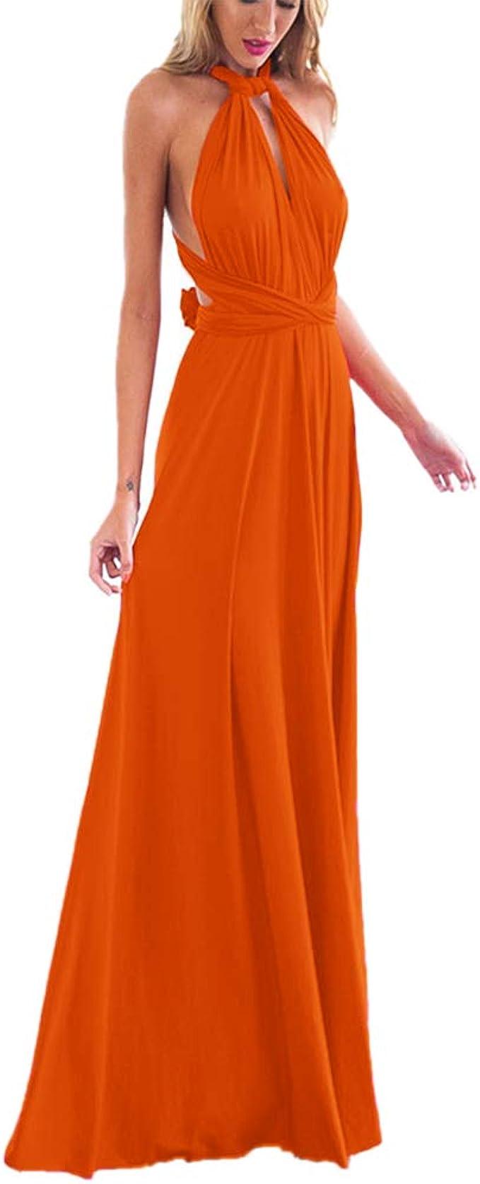 Damen Frauen Multi-tragen Kreuz Halfter Abendkleid Brautjungfer Langes  Kleid Multiway-Kleid V-Ausschnitt Rückenfrei Maxikleid Sommerkleider