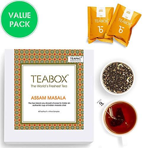 Teabox Assam Masala Chai Spiced Tea | Contains Natural Spices Cinnamon, Cardamom, Black Pepper, Clove, Ginger | Best English Breakfast Chai Tea for Latte | Box of 40 Tea Bags (+ 4 Free Samples)