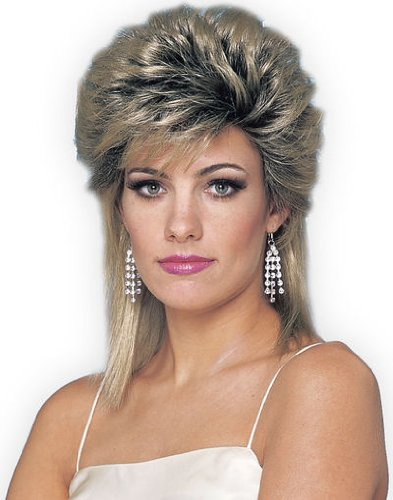 80s Rocker Fancy Dress (80s Sprayed Wig, Mixed Blonde, Adult - One)