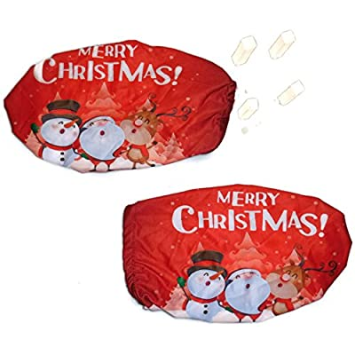 3D Image Merry Christmas! 4 Way Stretchable Car Mirror Cover, Spandex