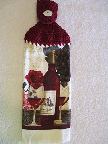 (Crocheted Red Wine Kitchen Towel with Burgundy Yarn)