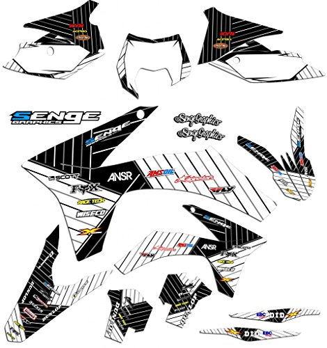 Senge Graphics kit compatible with KTM 2004 EXC, Race Series White Graphics Kit ()