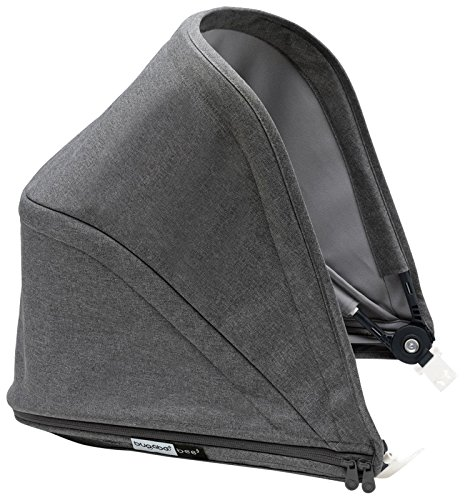 Bugaboo Bee5 Sun Canopy, Grey Mélange - Extendable Sun Shade for Full Weather Protection, Machine Washable - Bugaboo Canopy Sunshade