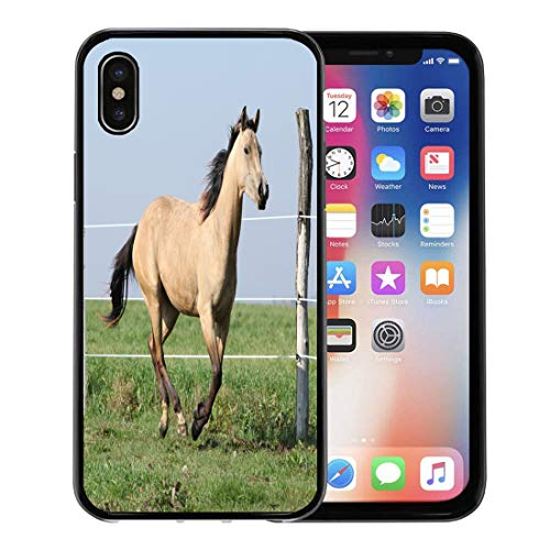 Semtomn Phone Case for Apple iPhone Xs case,Yellow Action Palomino Quarter Horse Running on Pasturage in Autumn Animal for iPhone X Case,Rubber Border Protective Case,Black ()