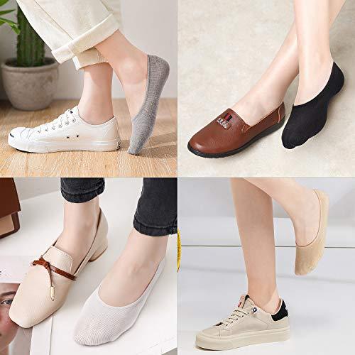 WISVOOO 3 Pairs No Show Socks Women Non Slip Thin Liner Socks for Flats Boat Cotton Invisible Hidden Socks (3 pairs(Black), Women Shoe Size 5-8.5)