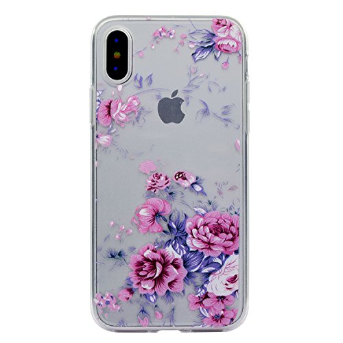 iPhone X Coque , Leiai Mode Rose Ultra-mince Transparent Clear Silicone Doux TPU Housse Gel Etui Case Cover pour Apple iPhone X