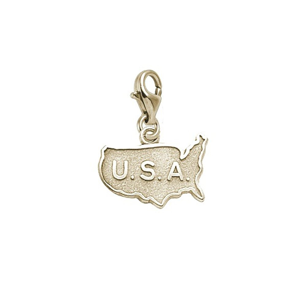 Usa Map Charm With Lobster Claw Clasp Charms for Bracelets and Necklaces
