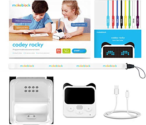 Makeblock Codey Rocky Programmable Robot, Fun Toys Gift to Learn AI, Python, Remote Control, Available for Windows, Mac OS, iOS, and Android, STEM Education for Kids Ages 6+.