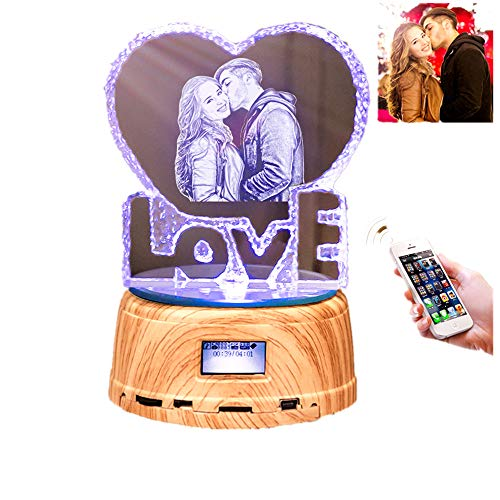 (Personalized Photo Night Light Bluetooth Led Lamp Color Changing Music Player Christmas Gift for)
