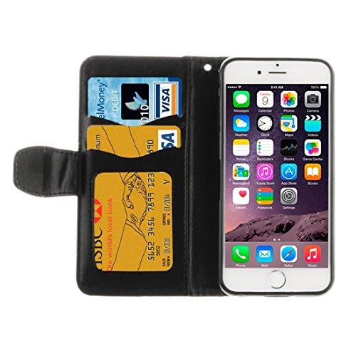 Phone Taschen & Schalen Für iPhone 6 Plus & 6s Plus geprägtes Blumenmuster Horizontales Flip Ledertasche mit Kartenschlitzen & Halter & Lanyard ( Color : Black )