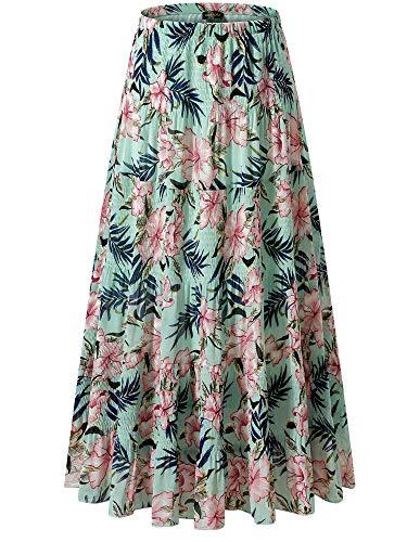 (NASHALYLY Women's Chiffon Elastic High Waist Pleated A-Line Flared Maxi Skirts (S, Flower-202))