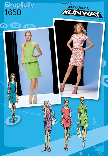 Simplicity Project Runway Pattern 1650 Misses Miss Petite Dress in 2 Lengths with Peplum and Sleeve Variations Size 4-6-8-10-12