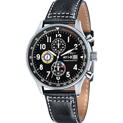 AVI-8-Mens-AV-4011-02-Hawker-Hurricane-Stainless-Steel-Watch-with-Black-Leather-Band
