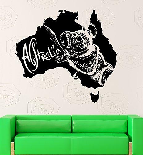 Wall Sticker Vinyl Decal Australia Koala Animal Map Room Decor (ig1940)