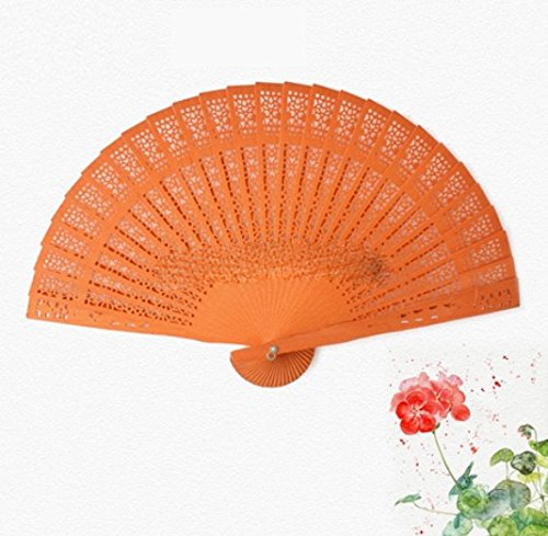 Orange Custom Charge 100Pcs/Lot Lace Bag And Hand Fan Wooden by Hand Fan