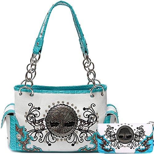 Sacchetto di spalla occidentale della borsa delle borse delle donne con l'albero della vita Sacchetto di modo e raccoglitore Combo Turchese