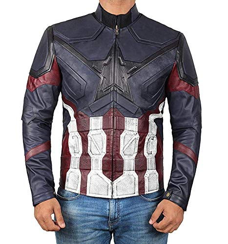Captain America - Motorcycle Leather Jacket | Blue Distress, 2XL -