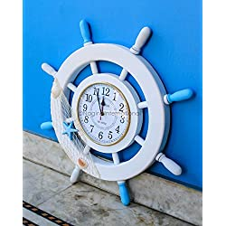 Nagina International 60 cm Nautical Whitewashed Clock Ship Wheel With Fishing Net   Captain's Maritime Beach Home Decor