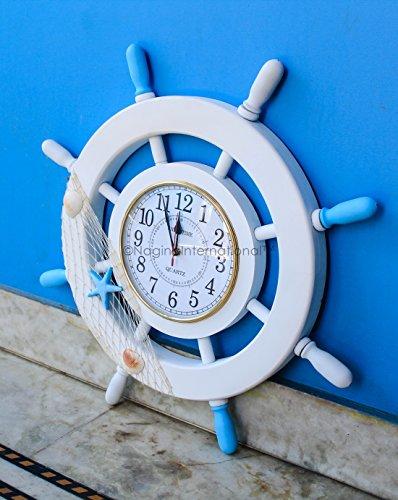 Nagina International 60 cm Nautical Whitewashed Clock Ship Wheel With Fishing Net | Captain's Maritime Beach Home Decor