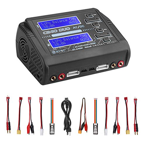 LiPo Charger Discharger Dual AC150W DC240W 10A C240 1-6S Duo Balance Battery Chargers for Li-ion Life NiCd NiMH LiHV PB Smart Battery ()