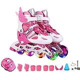 DSFGHE Roller Skates Children's Beginners Girls Boys Inline Skates Child Men And Women 3-12 Years Old Kids Flash Adjustable Size Adults Rollerblades Ice Skates,Pink-M(33-37)-Set1