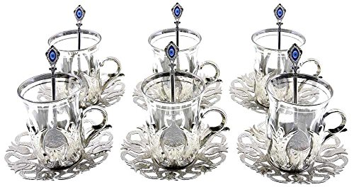 Set of 6 Turkish Style Tea Glasses with Brass Holder Saucer and Spoons Set Silver Plated 24 Pieces (Style Tea Set)