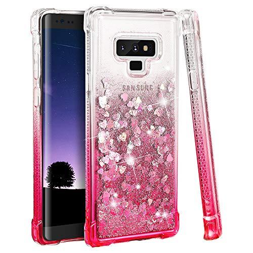Ruky Galaxy Note 9 Case, Gradient Quicksand Series Glitter Flowing Liquid Floating TPU Bumper Cushion Reinforced Corners Girls Women Cute Case for Galaxy Note 9 2018 Release, Gradient Pink