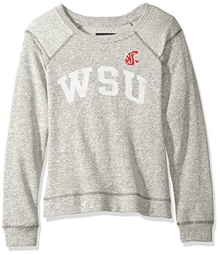 Moonlight Apparel - NCAA Washington State Cougars Moonlight Women's Reversed Sleeve Crew, Pepper/Charcoal, Small