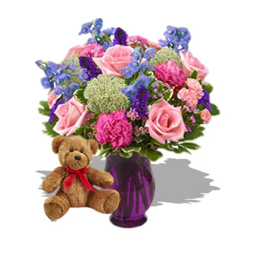 Beauty with Teddy by Send Gifts