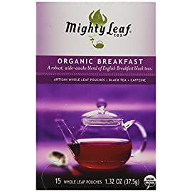 Mighty Leaf Tea, Organic Breakfast, Whole Leaf Pouches, 1.32 Ounce, 15 Count 67 Pack of 3 (total 45 count) Made with premium black tea leaves from Ceylon, Darjeeling and Assam All-natural; uses whole tea leaves