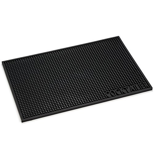 Cocktailier Professional Rubber Bar Service Spill Mat, An Essential Bar Accessory 18 x 12 in, Black (Mat Bar Service)