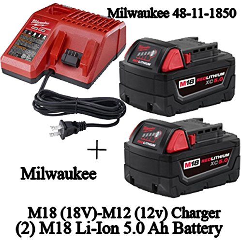 Milwaukee 48-59-1850 M18 RED LITHIUM XC 5.0 Ah Batteries (2) + 48-59-1812 M12 and M18 Multi Voltage Charger kit by MILWAUKEE