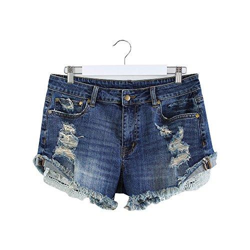 MSSHE Women's Plus Size Destroyed Ripped Hole Washed Denim Shorts Blue XL (Cotton Denim Jeans Shorts)