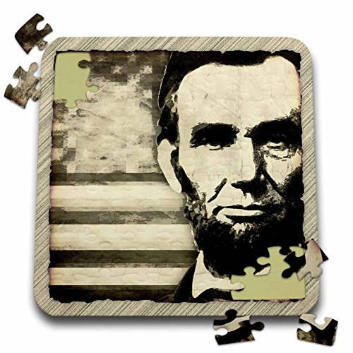 (3dRose Perkins Designs USA - Abraham Lincoln - President Abraham Lincoln with American flag in sepia tone colors - 10x10 Inch Puzzle (pzl_52683_2))