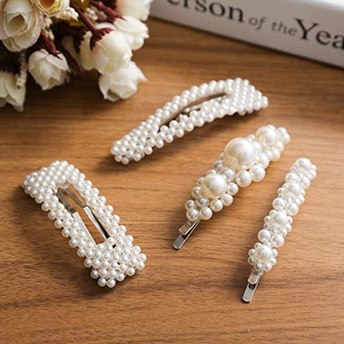 OUTERDO Pearls Hair Clips 4pcs for Women and Girls Gold Hair Barrette Pins for Girls Snap Hair Clips for Wedding, Party and Daily Wearing Decorative Hair Accessories Hairpins for Ladies Birthday Gift 4 Hair Clips Barrettes