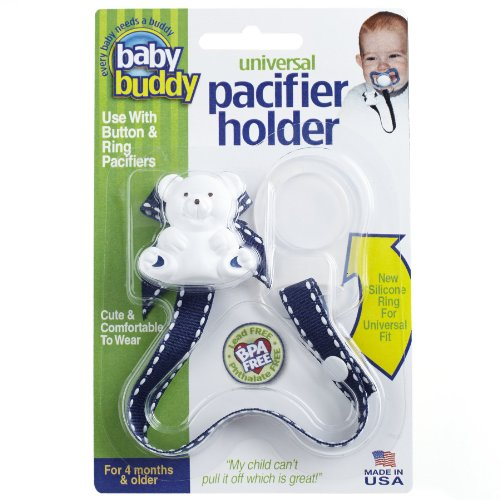Baby Buddy Universal Pacifier Holder Clip - Snaps to Paci or Attach with Universal-Fit Silicone Ring - Pacifier Clip for Babies 4+ Months/Toddler Boys & Girls, Navy with White Stitch Baby Buddy Pacifier Holder