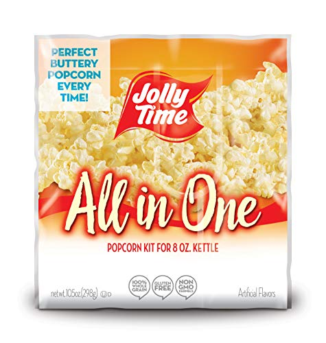 JOLLY TIME All in One Kit for 8 oz. Popcorn Machine | Portion Packet with Kernels, Oil and Salt for Commercial, Movie Theater or Air Popper (Net Wt. 10.5 oz. Each, Pack of 36)]()