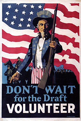 CANVAS Flag Uncle Sam Don't Wait for the Draft Volunteer