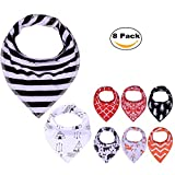 PPOGOO Baby Bandana Drool Bibs Unisex 8-Pack Gift Set for Boys and Girls made of 100% cotton