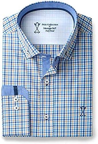 Camisa Manga Larga Hombre SEMIENTALLADA Azul Cuadros Interiores Combinados