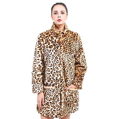 Mujer Cálido Mujer Para Lujo Cálido Leopardo Abrigo Chamarra Y A Invierno Piel Artificial Moda De Elegante Sintética La FwEwT8qHx
