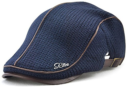 6a1d468e Roffatide Men's Retro Woolen Knitting Thicken Characteristic Color Matching  Peaked Cap Beret Hat Deep Blue