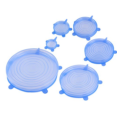Silicone Stretch Lids for Cookware Cannning Bowl Covers Expandable BPA Free for Platters, Dishes, Dishwasher, Jars, Oven, Microwave, Freezer Safe (Blue- 6 pack/ set)