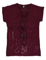 "Star Ride Big Girls' ""Texture Knit"" Cardigan - burgundy, 7 - 8"