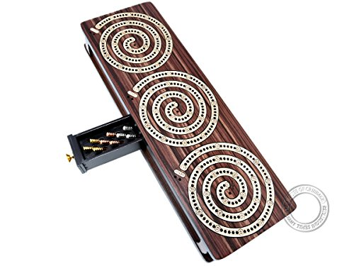 House of Cribbage - Spiral Design Continuous Cribbage Board / Box inlaid in Rosewood / Maple Wood - 3 Track - Separate Storage Space for Two Deck of Cards & Pegs ()