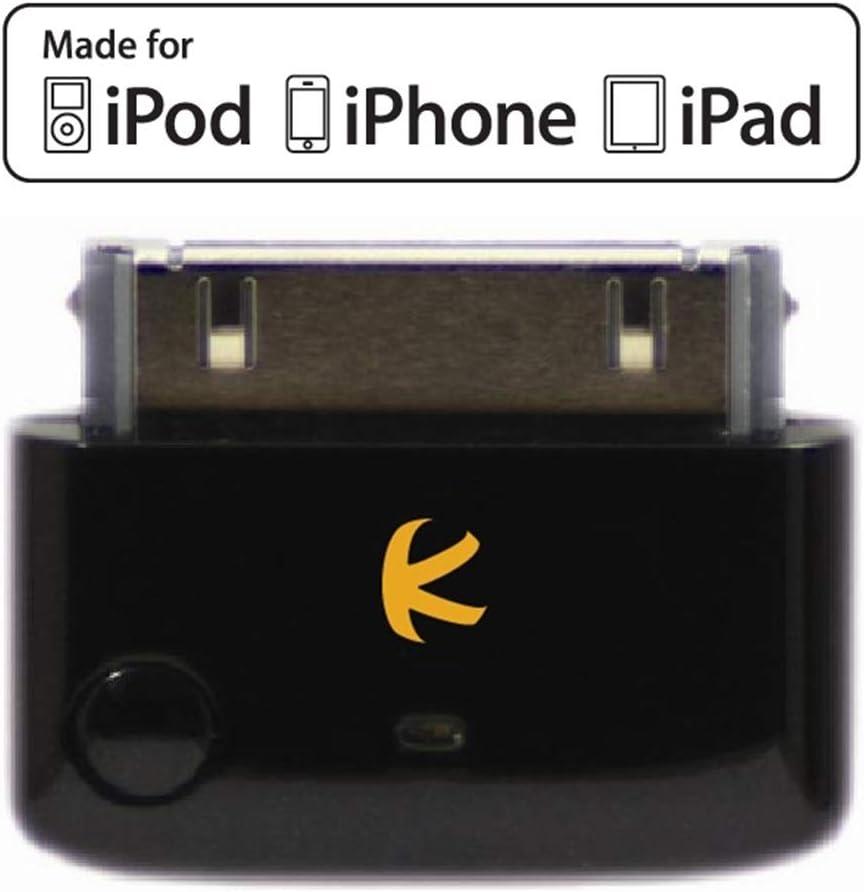 KOKKIA i10 black (Negro Lujoso) MULTI-STREAM es un minúsculo transmisor iPod por Bluetooth para iPod, iPhone, iPad o iTouch, multicanal estéreo (un solo aparato emisor para dos receptores). Control re