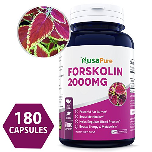 100% Pure Forskolin 2000mg Per Caps - 180 Capsules (Non-GMO & Gluten Free) - Weight Loss Fuel - Belly Buster Fat Burner - The Stronger The Better - 100% Money Back Guarantee - Order Risk Free! by NusaPure